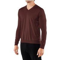 FALKE Men Pullover V-neck, XL, Brown, Block colour, Virgin Wool