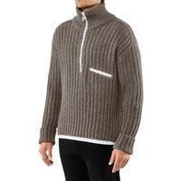 FALKE Men Pullover Stand-up collar, XL-XXL, Brown, Structure, Virgin Wool