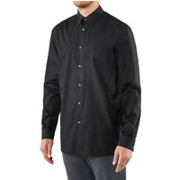 FALKE Men Shirt, 48, Black, Block colour, Cotton