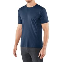 FALKE T-Shirt Round-neck, Men, L, Blue, Block colour, Cotton