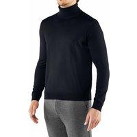 FALKE Men Pullover Roll-neck, M, Blue, Block colour, Virgin Wool