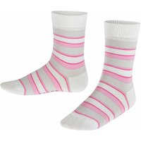 FALKE Mixed Stripe Kids Socks, 23-26, White, Stripes, Cotton