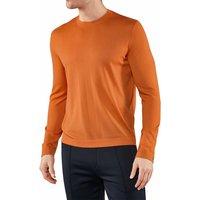 FALKE Men Pullover Round-neck, L, Orange, Block colour, Cashmere