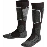 FALKE SK2 Kids Skiing Knee-high Socks, 23-26, Black, Wool