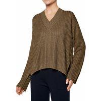 FALKE Women Pullover V-neck, S, Brown, Structure, Linen