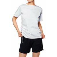 FALKE Women T-Shirt Boat-neck, L, White, Block colour, Cotton