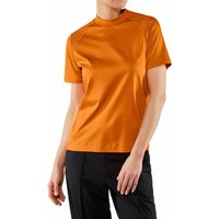 FALKE Women T-Shirt Round-neck, S, Orange, Block colour, Cotton
