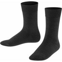 FALKE Comfort Wool Kids Socks, 23-26, Black, Block colour, Virgin Wool