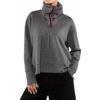 FALKE Women Pullover Roll-neck, Round-neck, XXL, Grey, Block colour, Cotton