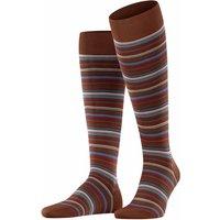 FALKE Microblock Men Knee-high Socks, 45-46, Brown, Stripes, Cotton