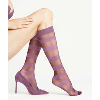 FALKE Minimal Line 15 DEN Women Knee-high Socks, 39-42, Rose, Stripes