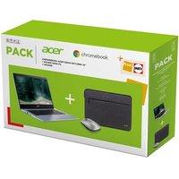 Pack Chromebook Acer CB314 1HT C6UF Ecran tactile 14 Intel Celeron 8 Go RAM 64 Go eMMC Grey Silver Souris sans fil Housse