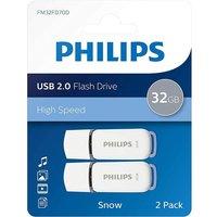 Pack de 2 clés USB 2.0 Philips Snow 32 Go White