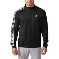 Adidas Mens 3 Stripes Quarter Zip Top (Logo on Chest)