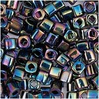 Rico  itoshii cube Perlen 3x3mm 6g lila opak regenbogen