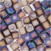 Rico  itoshii cube Perlen 3x3mm 6g lila matt regenbogen