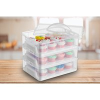 £12.99 (from Eurotrade) for a three-tier stackable cupcake carrier box