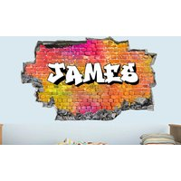 '£8.99 (from Deco Matters) For One Personalised 3d Graffiti Brick Name Wall Sticker Or £16.99 For Two