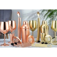 £14.99 instead of £29.99 (from CJ OFFERS) for a set of two stainless steel wine glasses or £24.99 for a 10-piece cocktail set with a recipe book and save up to 50%