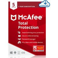£14.99 for a one year download of McAfee Total Protection 2021 for five devices from Download Buyer