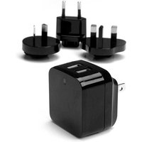 StarTech USB2PACBK 5V 3.4A Dual USB USA/UK/EU/AU Wall Charger Black