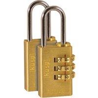 Kasp K11020D2 Brass Combination Padlock - 20mm - Twin By RapidOnline-RapidElectronicsLtd.