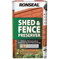 Ronseal 37651 Shed andamp; Fence Preserver Autumn Brown 5 litre