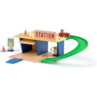 Wooden Petrol Station and Accessories (Toy Set)