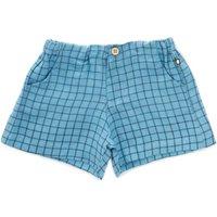 Checkered linen shorts