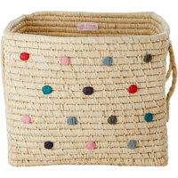 Raffia Polka-dot Storage Basket