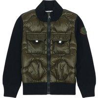 Bi-material Wool Cardigan