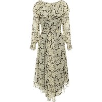 Silk Crayon Daisy Print Dress