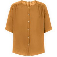 Cotton and Linen Buttoned Blouse