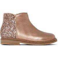 Retro Back Zip Metallic Leather Boots
