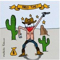 Cowboy Birthday Party Invitations - Set of 6