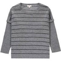 Cashmere striped Easy poncho Light grey