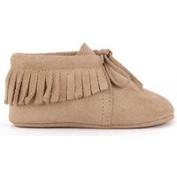 Fringed Lace-up Suede Slippers
