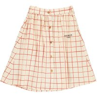 Net Checked Button-Up Long Skirt