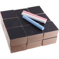 Slate and Wood Cubes and 3 Chalks - Set of 18