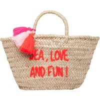 Sea, Love and Fun Embroidered Pompom Basket