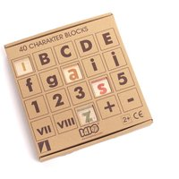 Wooden Letter and Number Cube Game - 40 Pieces