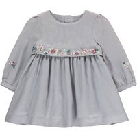 Buttoned Back Pearl Floral Twill Dress