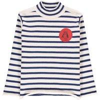 Striped Wool & Cotton Roll Neck Jumper
