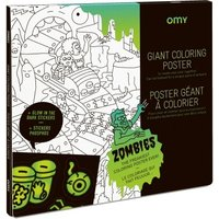 Zombie Giant Colouring Poster and Phosphorescent Stickers
