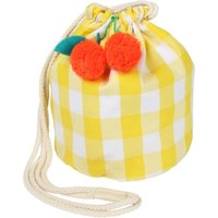 Gingham And Cherry Pompom Bucket Bag