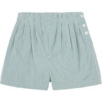 Side Button Striped Shorts