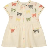 Kaylee Embroidered Bow Linen and Cotton Buttoned Dress