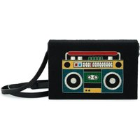 Artificial Leather Ghetto Blaster Embroidered Saddlebag Noir