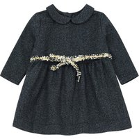 Belted Woolen Dress With Peter Pan Collar