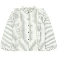 Napolir Lace Ruffled Stripe Buttoned Blouse